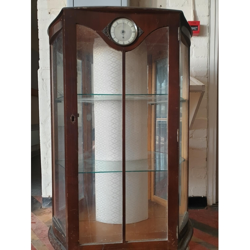 1 - 1950 glass display cabinet with built-in clock...
