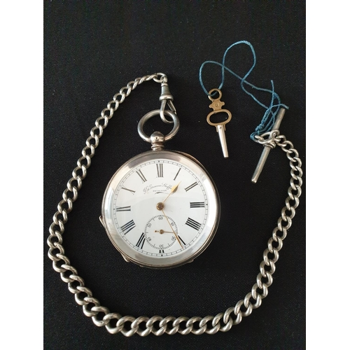 11 - Pocket watch and chain (Albert) J G Graves of Sheffield silver pocket watch 1880 with chain and wind...