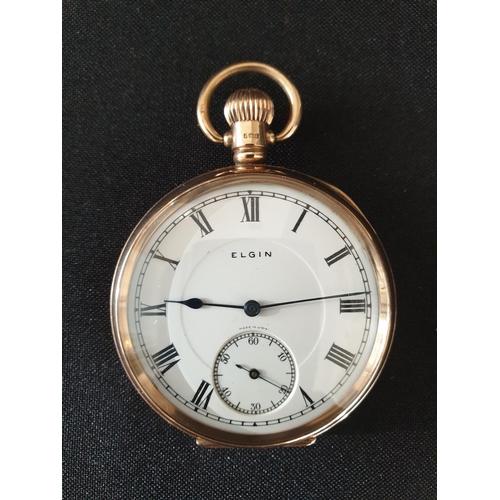 18 - Elgin pocket watch 9ct gold 1945...
