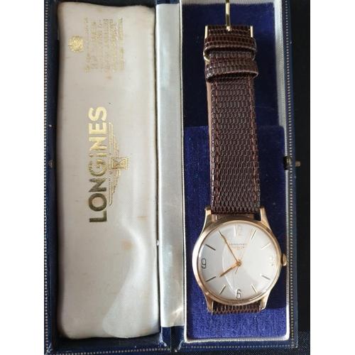 19 - Men Longines watch 9ct gold classic presentation watch 1964...