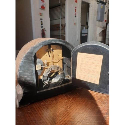 2 - Wooden key wind mantle clock 1960...