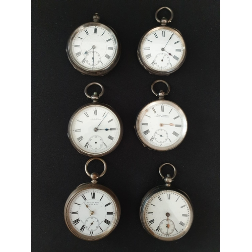 27 - 6 silver pocket watches Including Waltham, Corma and Acme Lever...