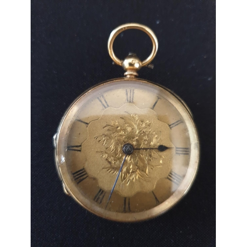 28 - 18ct Ornate gold pocket watch 1890 model with engraved back...