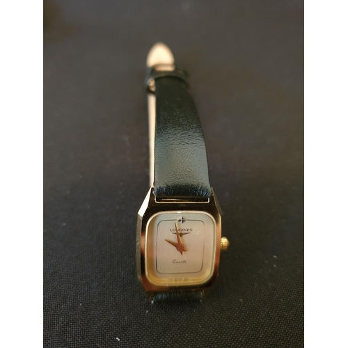 33 - Ladies Longines Quartz watch Tank style with leather strap...