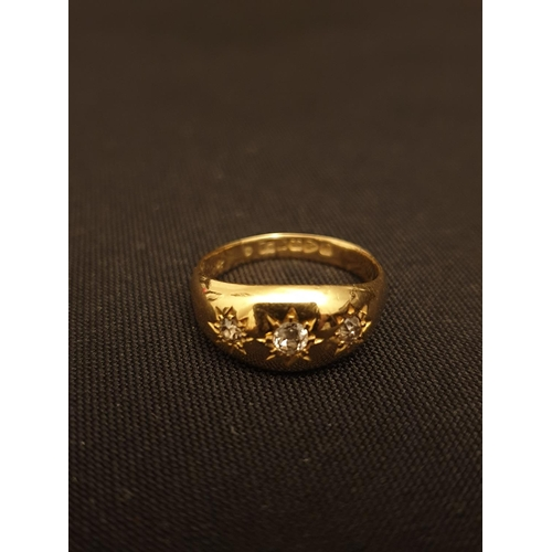 47 - 3 stone Gypsy ring 18ct gold with old-fashioned cut diamonds...