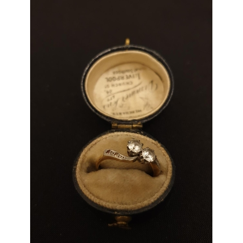 48 - Antique cross-over ring  18ct gold with 0.25 diamonds...