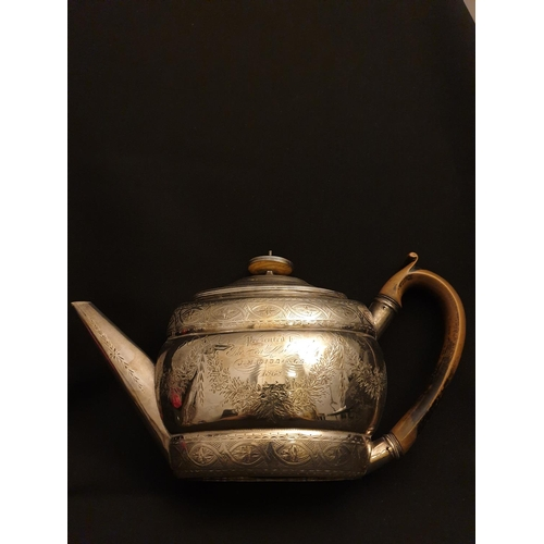 53 - Antique silver teapot Handed graved silver teapot dated 1868...