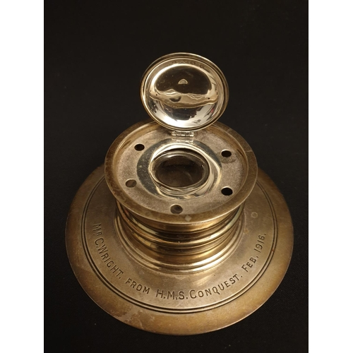 54 - Sip-inkwell Silver inkwell from H.M.S. conquest dated 1816...