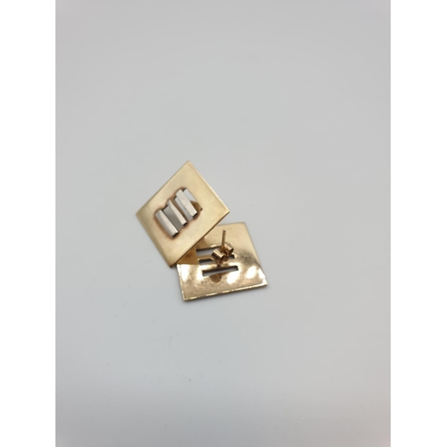 2 - Pair of 9ct gold square shaped earrings, weight 5.6g...