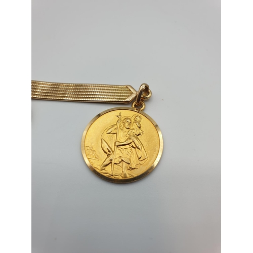 8 - 18ct gold St Christopher key ring, weight 22g and 22cm length...
