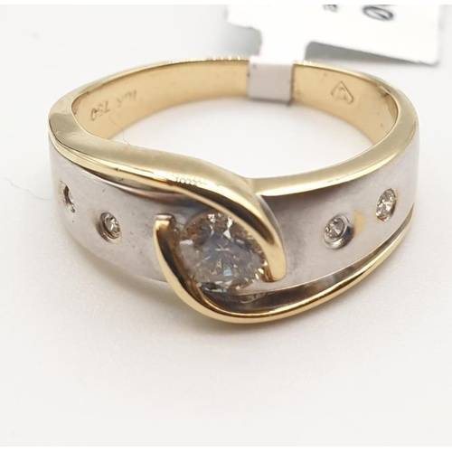 13 - 18ct 2 tone gold ring based on the original 'keeper 'ring design with single diamond centre stone.ri...