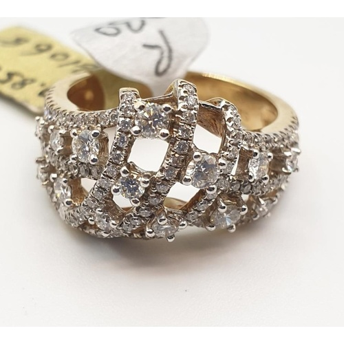 14 - 18ct gold with 0.85ct diamond, size N weight 6.8g...