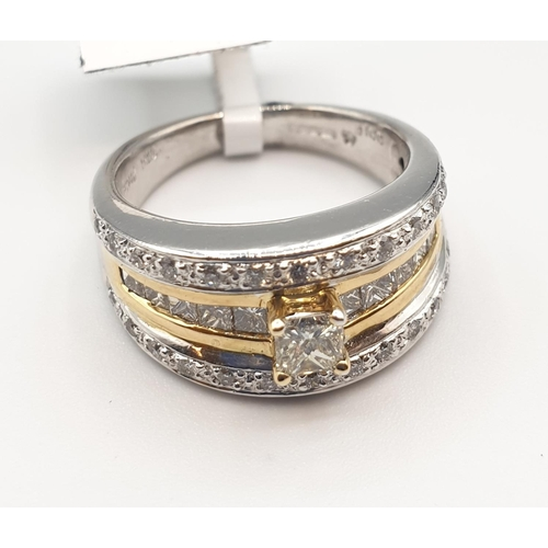 19 - 18ct gold ring with diamond, size M weight 10.7g...