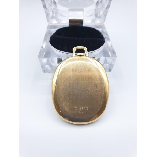 21 - 18ct gold Rolex Geneva  pocket watch.This watch is the Cellini model with an oval face and Roman num...