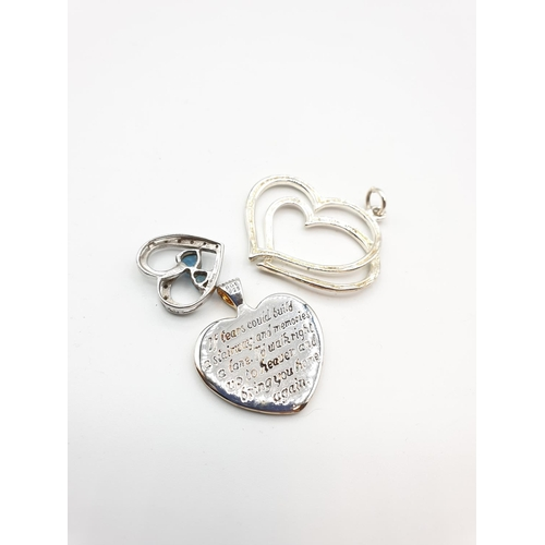 48 - Selection of 3 heart shaped silver pendants, weight 17.3g in total...
