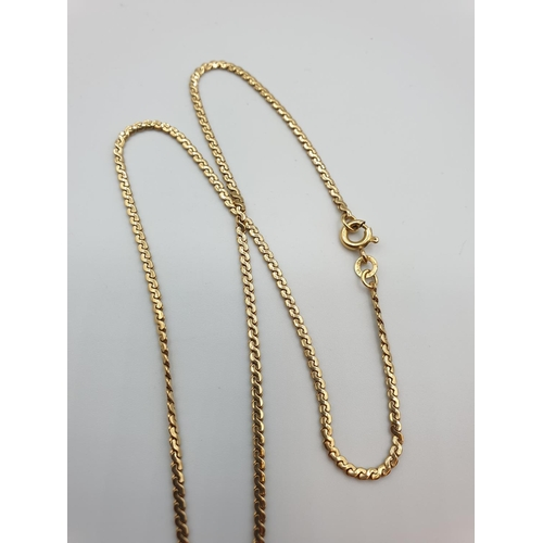 58 - 18ct gold necklace, 38cm length and 6g weight...