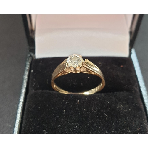 25 - 9ct gold ladies ring with smallish diamond centre solitaire, weight aprrox 1.8g size K...