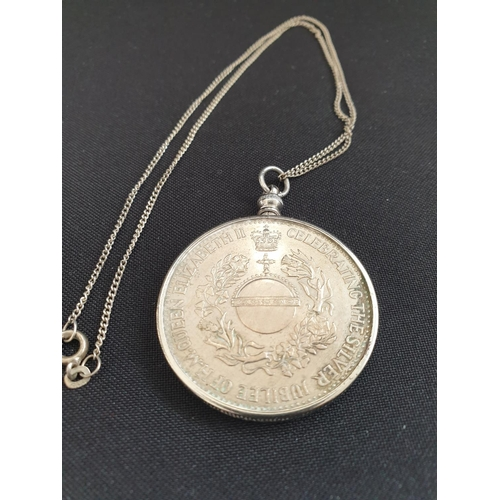 3 - Queen Jubilee crown mounted in a silver pendant on a 40cm silver necklace, weight 35.6g....