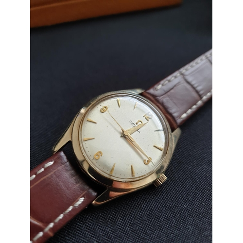 33 - Gentleman 9ct gold Omega wristwatch circa 1954, perfect working order in original case which comes i...