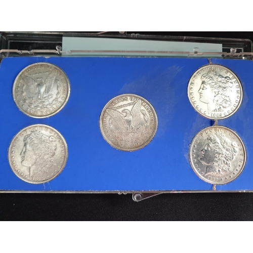 35 - Set of 5 United States silver Dollars, the coins are dated 1879, 1880, 1882, 1885 and 1889 in Fine c...