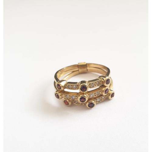 36 - 18ct gold triple shank ring with precious and semi precious stones, weight 6.2g...