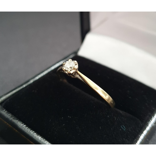 40 - 9ct gold ring with a 0.15ct diamond in a 6 claw setting, aprrox 2g size V...
