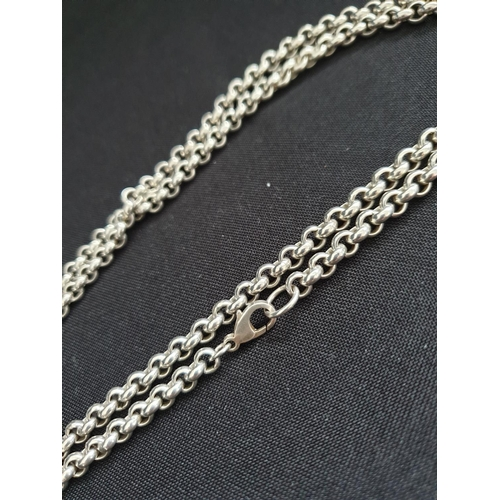 42 - Oversized silver belcher chain approx 4feet long (120cm) and weighing 88g....