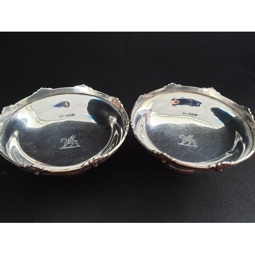 45 - Pair of silver bon bon dishes by Walker and Hall of Sheffield, both have a dragon coat of arms in th...