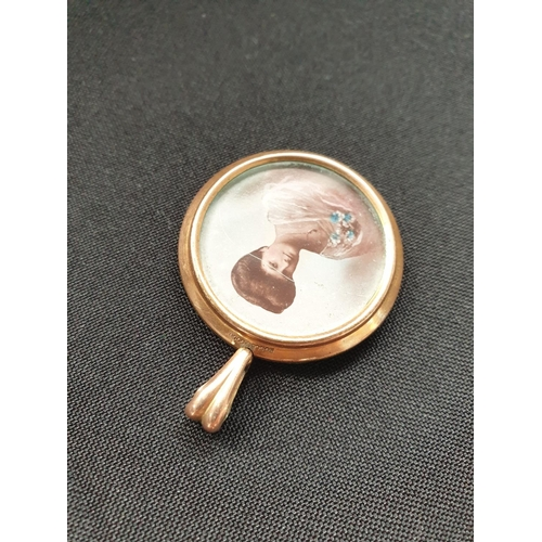 5 - Edwardian rolled gold keepsake locket/pendant with a photo of an elegant lady on the front and a swe...