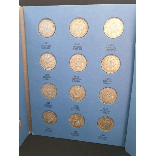54 - 31 English and Scottish 1937-1951 inclusive silver shilling collection, presented in a 3 page Whitma...