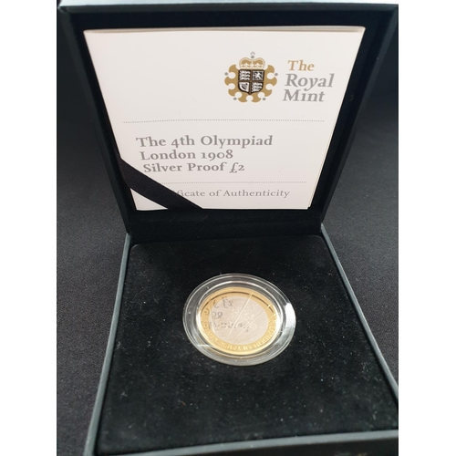 7 - 2008 silver proof £2 coin to celebrate the 1908 London Olympics, presented in the original capsule a...
