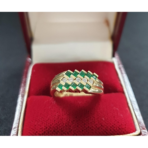 9 - 14ct gold ring with diamonds and emeralds in a modern design setting, weight approx 4g...