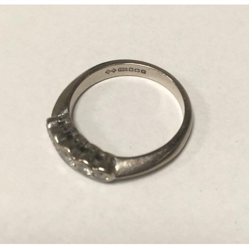 56 - Women's 18ct hallmarked 750 white gold diamond ring weight 3.5g...