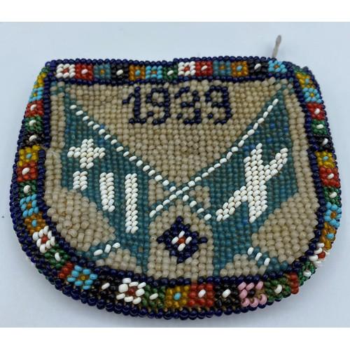 55 - Italian - Nazi Relic. A beadwork Purse having Italian and Nazi Flags with a 1939 Date....