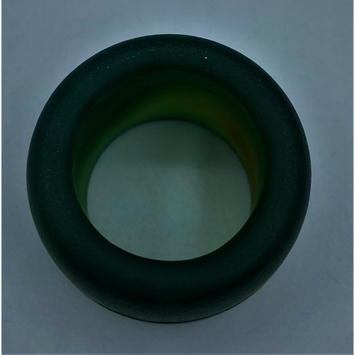 57 - A Chinese/Mongolian Green Agate Archers Ring (19th Century) Size T....