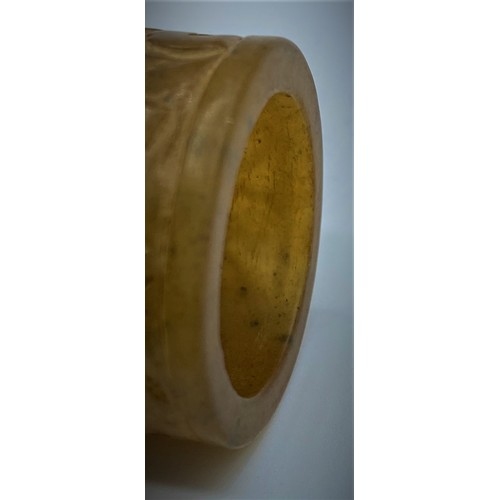 59 - A Tibetan Hardstone Hard Carving Ring (19th Century) Depicting Two Stylised Faces, Size Z....