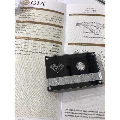 13 - 6.02ct round Brilliant Diamond I/VVS2 triple excellent GIA 2181223200. (Please contact the office fo...