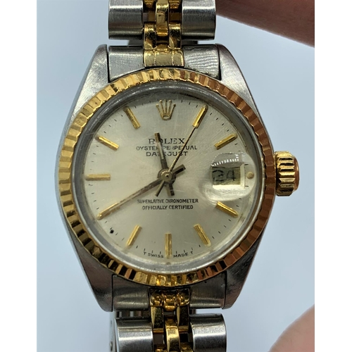 2 - Rolex Ladies Oyster Perpetual Datejust bracelet Watch. Champagne dial , stainless steel tonneau case...