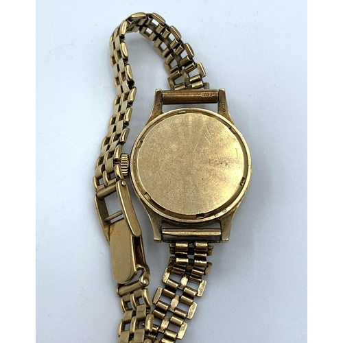 20 - 1950s Ladies Zenith Land & Water 9ct Gold Watch. Birch & Gaydon Ltd with 9ct strap, 25.1g...