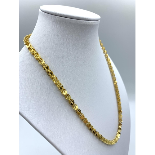 40 - 24ct Gold Necklace From The Far East Intricate Unique Design 16.4g 45cm...