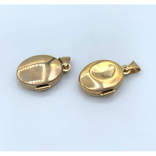 50 - Pair of 9CT Gold Locket Pendants, Weight 1.65g total (2)...