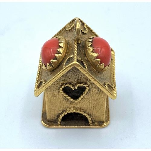 54 - 9ct Gold Vintage Birdbox Charm/Pendant with Red Stones, weight 7.8g and 2.5cm tall approx...