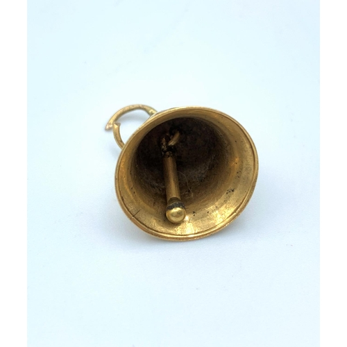 56 - 9ct Gold Vintage Bell Charm/Pendant, weight 2g approx 12mm tall...