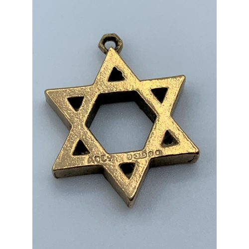 60 - 9ct Gold Star of David Charm/Pendant, weight 3.4g and 15mm long...
