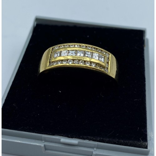 45 - 18CT YELLOW GOLD DIAMOND GENT RING, SIZE Z WEIGHT 8G APPROX AND 0.45CT DIAMONDS...