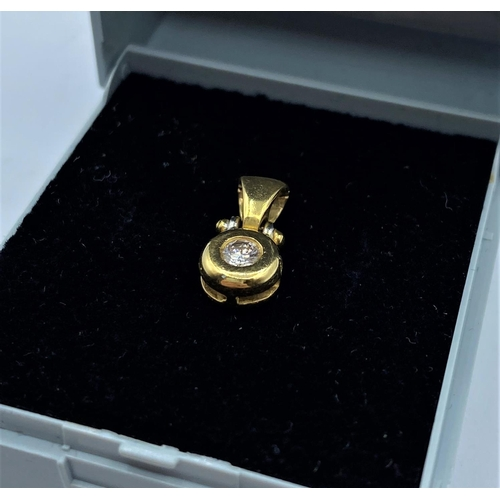 46 - 18CT YELLOW GOLD DIAMOND SOLITAIRE PENDANT, WEIGHT 2.1G APPROX AND 0.10CT DIAMOND...