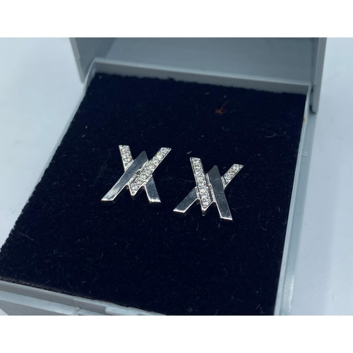 47 - PAIR OF 18CT WHITE GOLD DIAMOND SET STUD EARRINGS, WEIGHT 3.3G APPROX AND 0.20CT DIAMONDS...