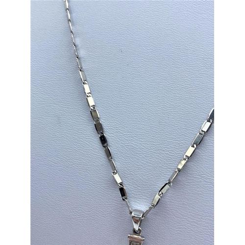 16 - 10K White Gold Chain (46CM LONG) & Diamond est Cross Pendant (2.5cm long), weight 7.7G approx 0.40CT...