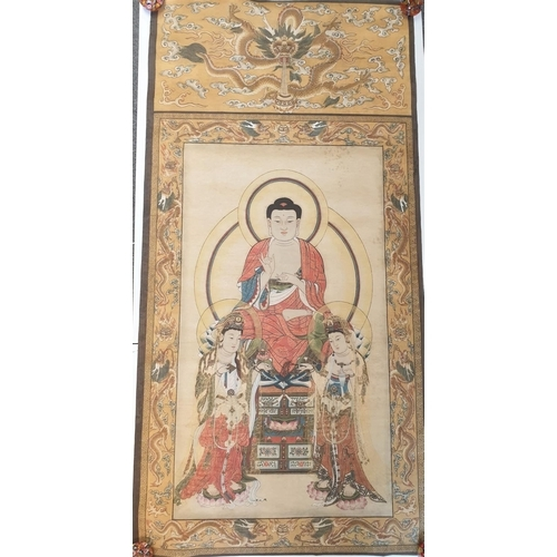 "4 - Tibetan Thangka depicting "" Three saints of the west"", in the middle is Shakyamuni, sitting on a lot..."