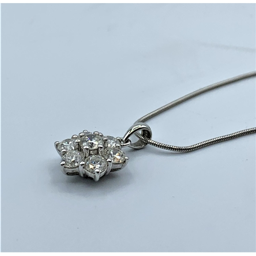 15 - 18ct White Gold And Diamond Pendant With Approx. 2ct in Total On A 9ct Necklace. 5.8g 45cm...